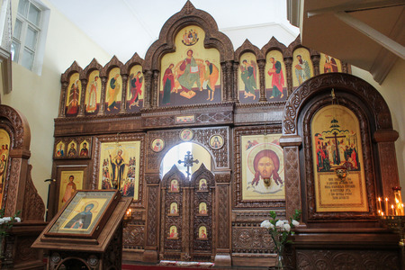 iconostasis: The iconostasis in the church nunnery. Staraya Ladoga, Russia - 23 February, 2016. Tourist places in the great ancient route from the Vikings to the Greeks.Staroladozhsky Holy Assumption nunnery. Gold ring of Russia. Editorial