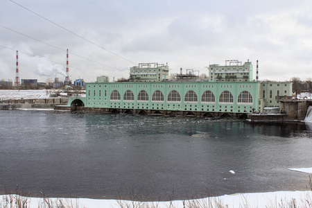 hydroelectric station: Volkhov hydroelectric station. Volkhov, Russia - 23 February, 2016. Tourist places in the great ancient route from the Vikings to the Greeks.Volkhov hydroelectric station.