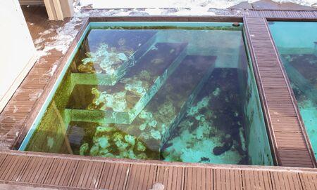 baptismal: Baptismal font of holy water. Stock Photo