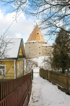 turnouts: View of the tower from the street turnouts. Staraya Ladoga, Russia.