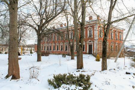 residential housing: Residential housing Staraya Ladoga Holy Assumption nunnery. Staraya Ladoga, Russia - 23 February, 2016. Tourist places in the great ancient route from the Vikings to the Greeks.Staroladozhsky Holy Assumption nunnery. Gold ring of Russia.