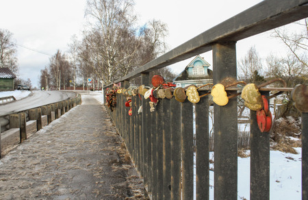 memorable: The fence of the bridge with a memorable wedding locks.
