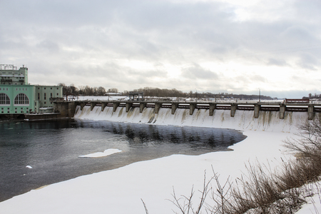 hydroelectric station: Dam on the river Volkhov. Volkhov, Russia - 23 February, 2016. Tourist places in the great ancient route from the Vikings to the Greeks.Volkhov hydroelectric station.