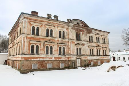ladoga: Staraya Ladoga, Russia - 23 February, 2016. Tourist places in the great ancient route from the Vikings to the Greeks. Nikolsky Monastery. Gold ring of Russia. Editorial