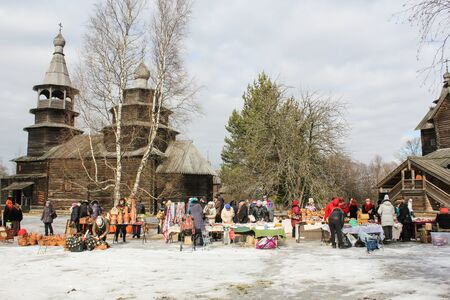 trade fair: Trade fair sale on Carnival. Holiday Carnival in general Vitoslavlitsy near Novgorod.