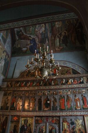 iconostasis: Chandelier in front of the iconostasis. Interiors of St. Sophia Cathedral in the Kremlin of Novgorod the Great.