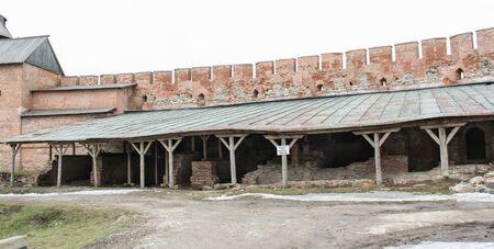 veliky: Fragment of the Kremlin wall gear. Types of towers and walls of Kremlin in Veliky Novgorod.