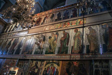 iconostasis: Large iconostasis of St. Sophia Cathedral. Interiors of St. Sophia Cathedral in the Kremlin of Novgorod the Great. Editorial