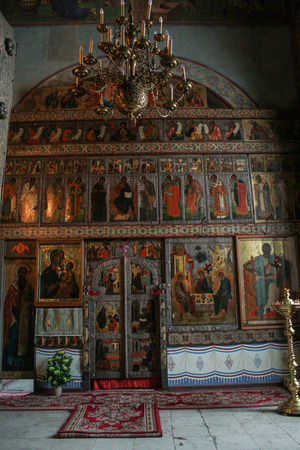 iconostasis: Small iconostasis of St. Sophia Cathedral. Interiors of St. Sophia Cathedral in the Kremlin of Novgorod the Great. Editorial