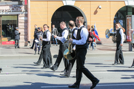 nevsky prospect: Group of musicians males. Day festive demonstration on the Nevsky Prospect in St. Petersburg, the first of May.