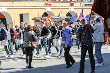nevsky prospect: Day festive demonstration on the Nevsky Prospect in St. Petersburg, the first of May.