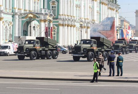 bombings: Constant bombings on the Victory Parade. Military Victory Parade at the Palace Square in St. Petersburg.