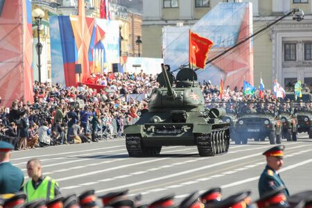 t34: The legendary T-34 tank in the parade of the Victory. Military Victory Parade at the Palace Square in St. Petersburg.