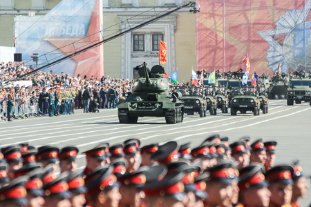 t34: T-34 tanks in the parade. Military Victory Parade at the Palace Square in St. Petersburg.