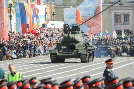 t34: The legendary T-34 tank on the Victory Parade. Military Victory Parade at the Palace Square in St. Petersburg.