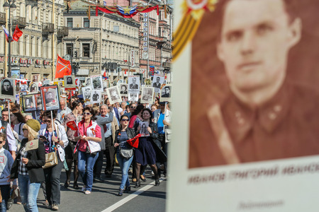 nevsky prospect: Action Immortal regiment. Holiday-action Immortal regiment taking place in St. Petersburg on Nevsky Prospect.