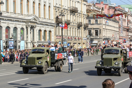 nevsky prospect: Soviet truck GAZ-51 Holiday-action Immortal regiment taking place in St. Petersburg on Nevsky Prospect.