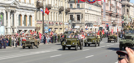 nevsky prospect: Parade of military avtotehnikm antiquity. Holiday-action Immortal regiment taking place in St. Petersburg on Nevsky Prospect.