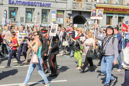 nevsky prospect: Suvorov regiment composed immortal. Holiday-action Immortal regiment taking place in St. Petersburg on Nevsky Prospect. Editorial