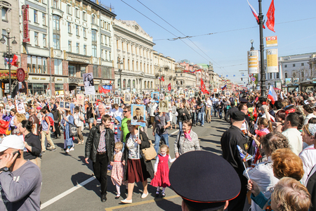 nevsky prospect: Immortal Regiment on the Nevsky Prospect. Holiday-action Immortal regiment taking place in St. Petersburg on Nevsky Prospect.
