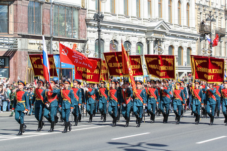 regiment: Parade of military operation. Holiday-action Immortal regiment taking place in St. Petersburg on Nevsky Prospect. Editorial