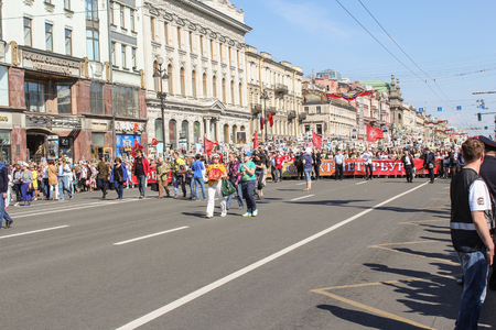 nevsky prospect: The line of people with a banner. Holiday-action Immortal regiment taking place in St. Petersburg on Nevsky Prospect.