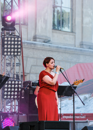 soloist: Soloist on stage. Annual international festival of jazz and blues in St. Petersburg.