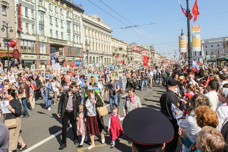 regiment: Immortal regiment in St. Petersburg. Holiday-action Immortal regiment taking place in St. Petersburg on Nevsky Prospect.