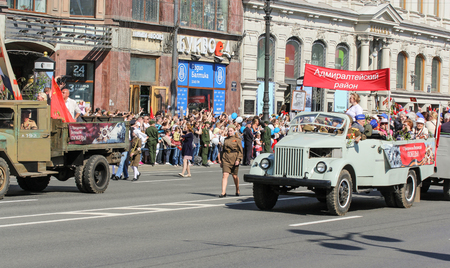 nevsky prospect: Soviet trucks wartime. Holiday-action Immortal regiment taking place in St. Petersburg on Nevsky Prospect.
