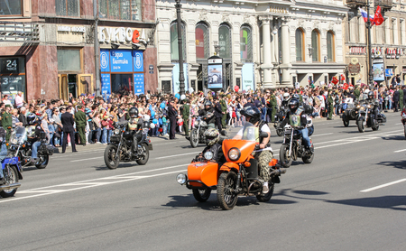 regiment: Bikers on the road. Holiday-action Immortal regiment taking place in St. Petersburg on Nevsky Prospect.
