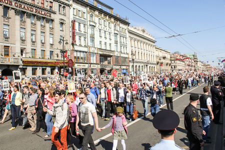 regiment: Infinite Column people. Holiday-action Immortal regiment taking place in St. Petersburg on Nevsky Prospect.