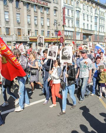 nevsky prospect: Procession of people. Holiday-action Immortal regiment taking place in St. Petersburg on Nevsky Prospect.