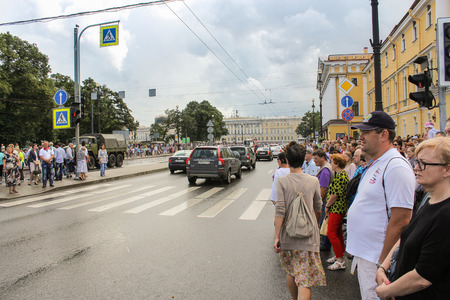 divergent: People have divergent transition after the parade. Festive day of the Navy in St. Petersburg. Editorial