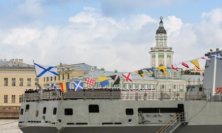 warship: Feed a large warship. Festive parade of warships on the Neva River in St. Petersburg. Editorial