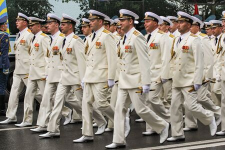 in the ranks: Naval officers in the ranks. Military sailors on parade in honor of the Navy. Editorial