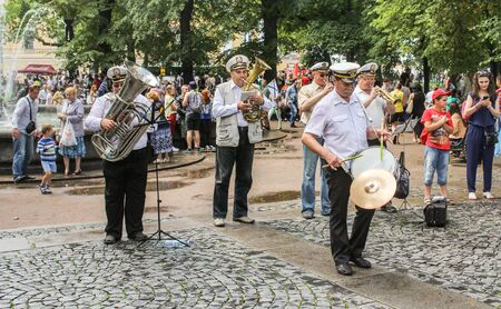 brass  band: Street Brass Band. Festive day of the Navy in St. Petersburg. Editorial
