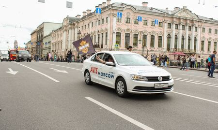 nevsky prospect: Cars traveling on the Nevsky Prospect. The annual parade of Harley Davidson in the squares and streets of St. Petersburg. Editorial