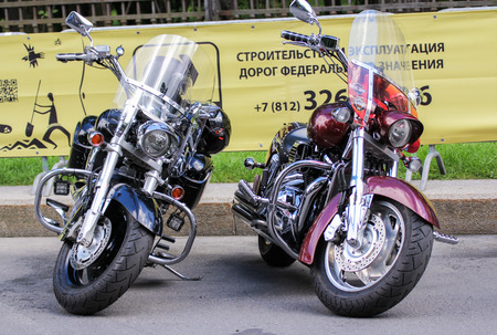 Two large motorcycle. The annual International Festival of Motor Harley Davidson in St. Petersburg Ostrovsky Square. Editorial