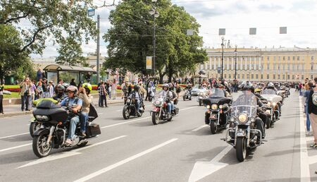 convoy: A large convoy of bikers. The annual parade of Harley Davidson in the squares and streets of St. Petersburg. Editorial