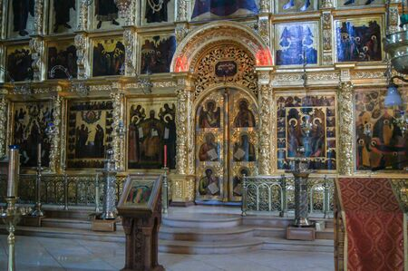 The iconostasis of St. Sergius. Sightseeing and tourist places of the city of Sergiev Posad.