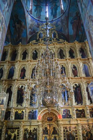 Large iconostasis Sergius Lavra. Sightseeing and tourist places of the city of Sergiev Posad. Editorial