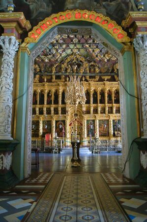 The main iconostasis of the Trinity-Sergius Lavra. Sightseeing and tourist places of the city of Sergiev Posad.