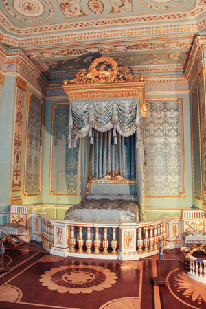 museum visit: Gold with the blue bedroom interior Gatchina Palace. Visit the Gatchina Palace as part of a cultural forum in St. Petersburg.