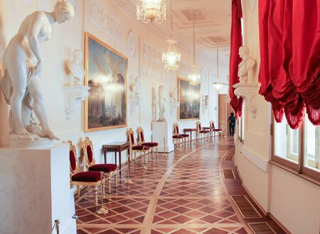 Greek Gallery Gatchina Palace. Visit the Gatchina Palace as part of a cultural forum in St. Petersburg. Stock Photo
