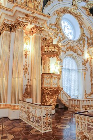 art museum: A fragment of the Hermitage halls. A visit to the Hermitage as part of a cultural forum in St. Petersburg.