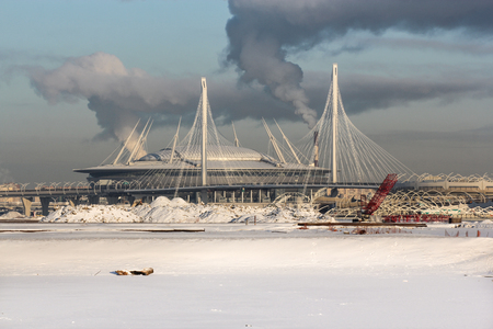 New St. Petersburg Stadium, Zenith Arena. Types of Winter St. Petersburg in sunny cold day. Stock Photo