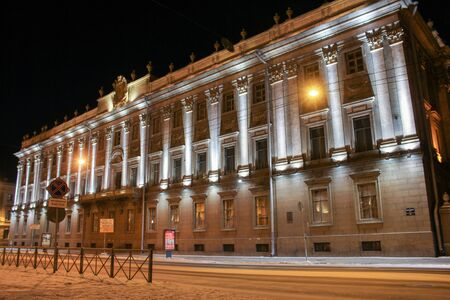 marble palace: Marble Palace on Millionth street. Night views of St. Petersburg at Christmas.