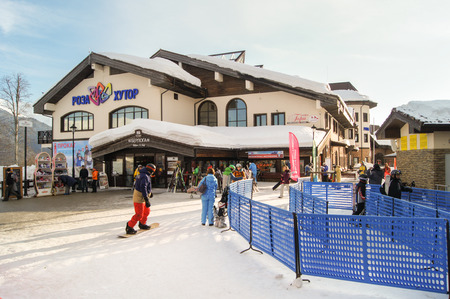 ski runs: The ski village of Rosa Khutor. The complex mountain-ski runs and facilities in the village of Rosa Khutor. Editorial