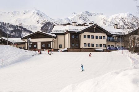 ski runs: Hotel mountain ski resort. The complex mountain-ski runs and facilities in the village of Rosa Khutor.