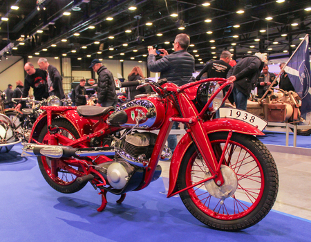 Retro motorcycle in red. Motorcycles and motoconcepts presented at St. Petersburg Motor Show.